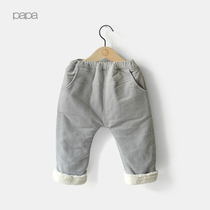 Thickened crawling baby corduroy cashmere baby pp pants