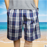 Men's cotton pants shorts in summer men Home Furnishing pants cotton gauze casual pants loose Plaid Shorts Pants home