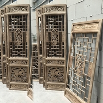 Dongyang wood carving antique doors and windows Chinese solid wood lattice background partition wall partition Solid wood door carved door lattice door
