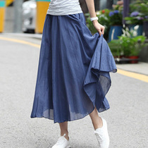 2017 new cotton summer skirt irregular literary Bohemian long skirts in cotton pleated swing dress