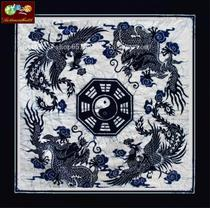 Wax-dyed tablecloth Miao batik wall-hanging tablecloth square tablecloth Longfeng Bagua 115*115CM