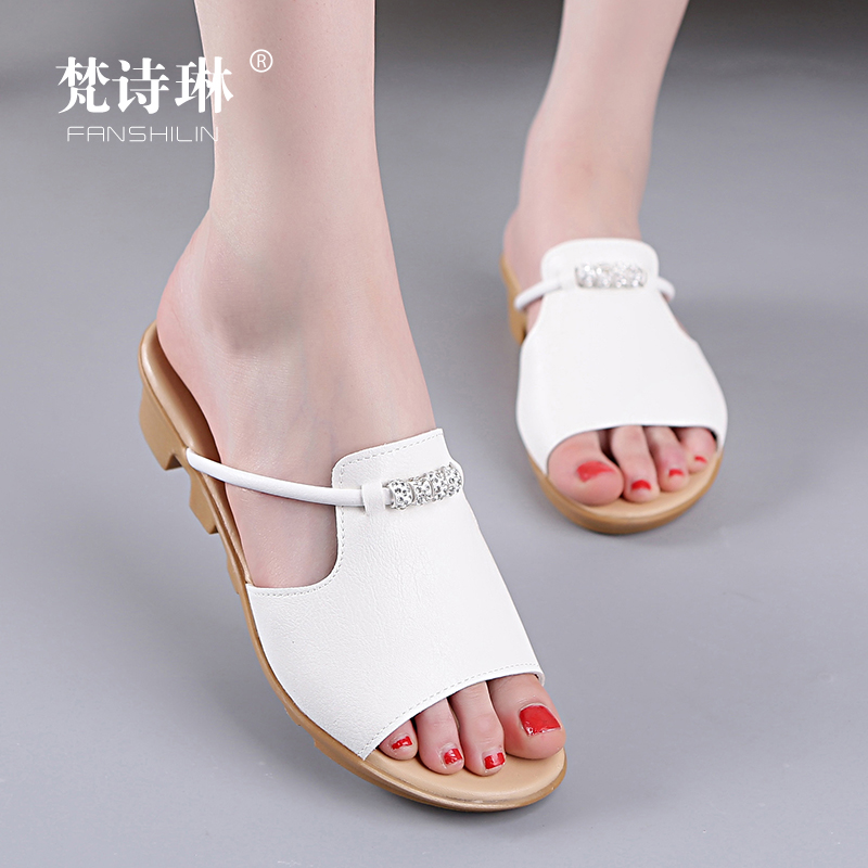 Sandals Women's Summer Fashion Outside Flat-soled One-word Slipper Korean Edition Slope-heeled Mid-heeled Beach Shoes Anti-skid Baitao Women's Shoes Tide