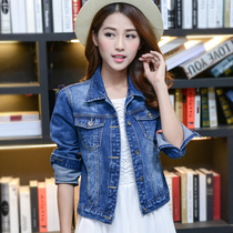 Spring and autumn Korean female short autumn ladies  Long Sleeve Denim jacket Joker elastic easing students  denim jacket