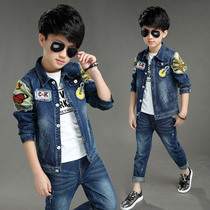 Boys spring suit 2017 new denim 6-12 suit child 8 9 children up to 10 years old in the spring tide of ten