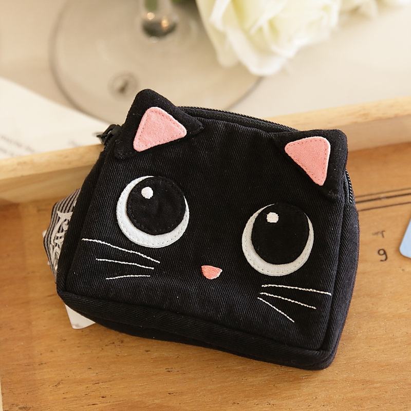 New Taiwan Qile Cat Big Eye Black Cat Stereo Double Head Zipper Card Change Wallet 820020