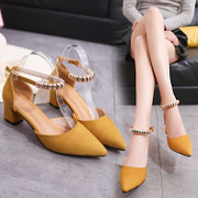 2017 summer new Korean style thick heel with a 5cm nib with a pair of buckle sandals sandals