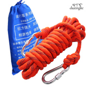Lone man climbing rope rescue rope climbing downhill outdoor climbing equipment safety rope rope tied rope umbrella