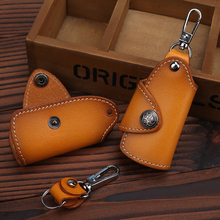 Manual head layer cowhide leather key bag retro Personalized Car Keychain simple and little practical