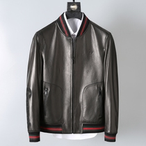 Classic red and green goatskin mens stylish slim-fit leather jacket
