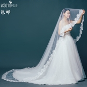 The bride veil over 3 Korean postage meters 5 meters 10 meters lace yarn yarn knot wedding new soft tail