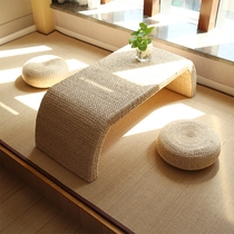 Handmade straw tatami table Terrace table balcony Table Kang table Japanese-style coffee table table and chair combination creative table