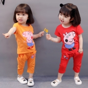 Girls baby girl summer 1 summer 0 2 3 year old baby wear clothes Paige piggy short suit 4 Korean tide 5