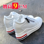 2017 new autumn and winter increased in high-heeled shoes 8cm shoes white shoe all-match thick bottom slope with casual shoes with cashmere