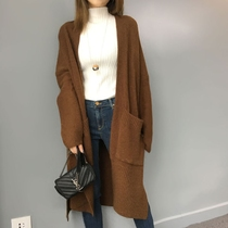 Outlet France single long open fork loose thin caramel-colored wool sweater coat knit cardigan female