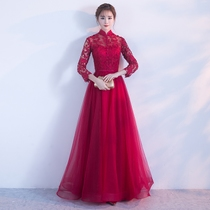 Bridal Toast 2018 new summer and autumn winter wedding engagement door dress female collar show thin long sleeve