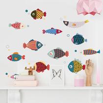 卫生间可爱玻璃贴纸装饰小图案卡通小鱼自粘