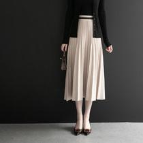 Jupe femmes automne et hiver jupe plissée une jupe tricotée lettre dans le long